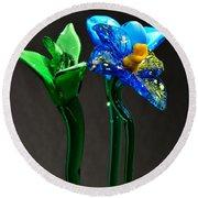 Profile Of Glass Flowers Round Beach Towel