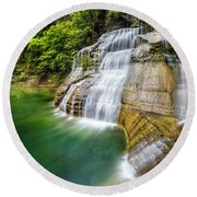 Profile Of The Lower Falls At Enfield Glen Round Beach Towel
