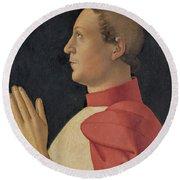 Profile Portrait Of Cardinal Philippe De Levis Round Beach Towel
