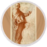 Profile Study Of A Standing Saint Holding A Book With Subsidiary Studies Of Three Additional Figures Round Beach Towel