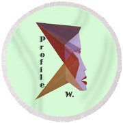 Profile W. Text Round Beach Towel