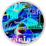 Profound Thought Celebrate Life Pink Round Beach Towel