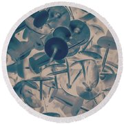 Projected Abstract Blue Thumbtacks Background Round Beach Towel