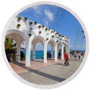 Promenade In Nerja Round Beach Towel