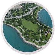 Promontory Point In Burnham Park In Chicago Aerial Photo Round Beach Towel