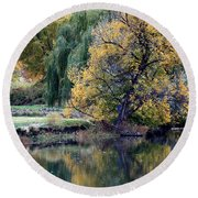 Prosser - Autumn Reflection With Geese Round Beach Towel