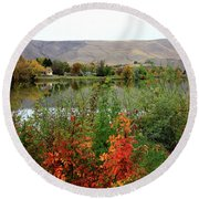 Prosser Autumn River With Hills Round Beach Towel