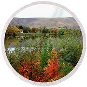 Prosser Autumn River With Hills Round Beach Towel by Carol Groenen