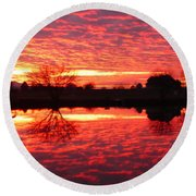 Dramatic Orange Sunset Round Beach Towel