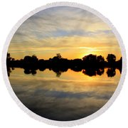 Prosser Sunset - Blue And Gold Round Beach Towel