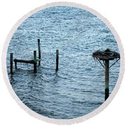 Protected Osprey Nest Round Beach Towel