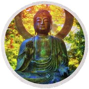 Protection Buddha #2 In Japanese Tea Garden At Golden Gate Park - San Francisco Round Beach Towel