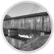 Protection That Works Historic Watson Mill Covered Bridge Round Beach Towel