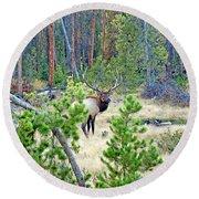 Protective Elk Round Beach Towel