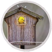 Prothonotary Warbler House Round Beach Towel