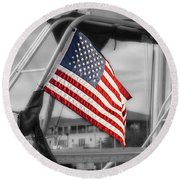 Proud Nautical American  Round Beach Towel