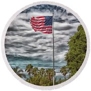 Proudly Waving Round Beach Towel