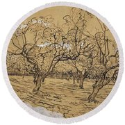 Provencal Orchard Arles  March - April 1888 Vincent Van Gogh 1853  1890 Round Beach Towel