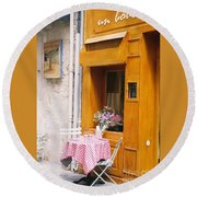 Provence Cafe Round Beach Towel