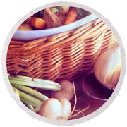 Provence Kitchen Shallots Round Beach Towel