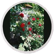 Provence Red Roses Round Beach Towel
