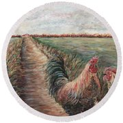 Provence Roosters Round Beach Towel