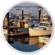 Provincetown Fishing Boats, Ptown, Ma Round Beach Towel