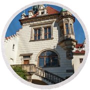 Pruhonice Castle Side View Round Beach Towel