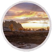 Prusik Peak Golden Cloudscape Round Beach Towel