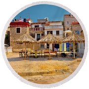 Prvic Luka Waterfront Architecture View Round Beach Towel