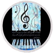 Psalm 40/3 Blue Round Beach Towel