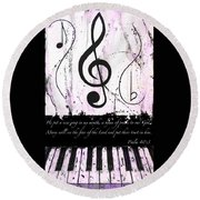Psalm 40/3 Purple Round Beach Towel