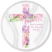Psalm 46 5 Cross- Art By Linda Woods Round Beach Towel