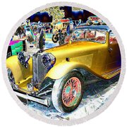 Psychedelic 1930 Jaguar Ss1 At London Classic Car Show 2015 Round Beach Towel