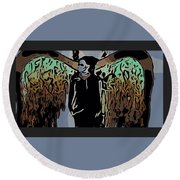 Psychedelic Angel Round Beach Towel