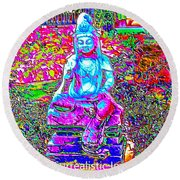 Psychedelic Buddha Round Beach Towel