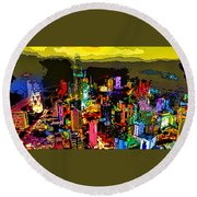 Psychedelic  Dubai Art Round Beach Towel