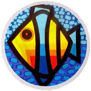 Psychedelic Fish Round Beach Towel by John  Nolan