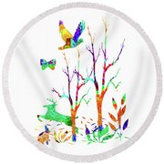 Psychedelic Forest Round Beach Towel