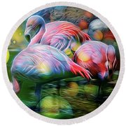 Psychedelic Ibis Round Beach Towel