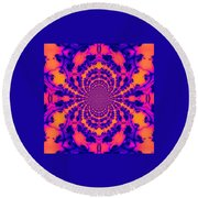 Psychedelic Mandelbrot Set  Kaleidoscope Round Beach Towel
