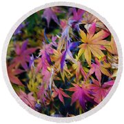 Psychedelic Maple Round Beach Towel by Kaye Menner