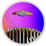 Psychedelic Morgan 4/4 Badge And Radiator Round Beach Towel