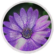 Psychedelic Purple Petals  Round Beach Towel