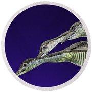 Psychedelic Sculpture Of Three Mallard Ducks Flying Round Beach Towel