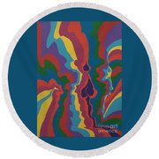 Psychedelic Skull Round Beach Towel
