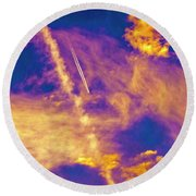 Psychedelic Skys Round Beach Towel