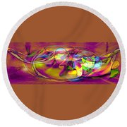 Psychedelic Sun Round Beach Towel