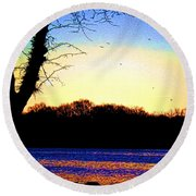 Psychedelic Sunrise On The Delaware River Round Beach Towel