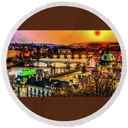 Psychedelic Sunset Art Round Beach Towel